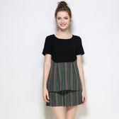 中大尺碼~優雅時尚拼接兩件式短袖套裝(XL)