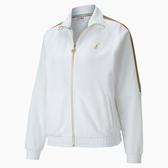 PUMA TFS 女裝 外套 夾克 棉質 寬版 立領 側袋 LOGO 印花 白金 歐規【運動世界】59836902