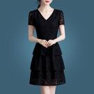 修身蕾絲裙女2021新款夏季女裝大碼高腰顯瘦蛋糕裙夏天洋裝 快速出貨