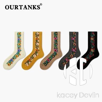 襪子女素色棉襪簡約花朵刺繡春秋長筒襪日系學生森系少女長襪【Kacey Devlin】