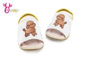 小童涼拖鞋 真皮軟墊 貴賓狗 鬆緊帶涼拖鞋 F5247#白色◆OSOME奧森童鞋