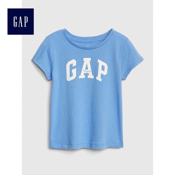 Gap女嬰幼童 Logo短袖圓領T恤 443029-天藍色
