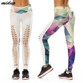 時尚彩色格子數碼印花高腰小腳褲 舒適彈力運動褲