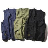 馬甲美式潮流多口袋工裝馬甲男阿美咔嘰短款日系復古休閒背心外套上衣 曼慕衣櫃