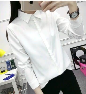 EASON SHOP(GU0168)秋裝新款韓版白色襯衫長袖女百搭職業藍色黑色純色單色白襯衫M-XL
