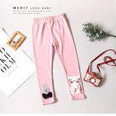 純棉 優雅可愛大小兔兔蝴蝶結內搭褲 長褲 粉色 毛線繡 韓版 女童褲子 內搭褲 哎北比童裝