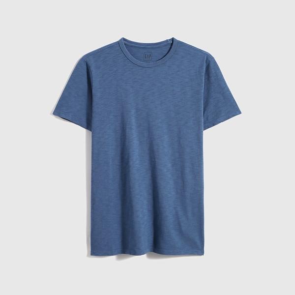 Gap男裝 棉質舒適圓領短袖T恤 530924-灰藍色