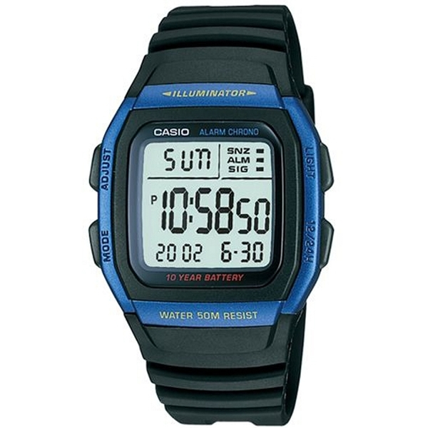 CASIO 輕運動時代電子錶-金屬籃框(W-96H-2A)