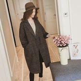 毛呢外套秋冬季毛呢外套韓版修身寬松妮子格子中長款女呢子大衣「爆米花」