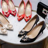 高跟鞋 酒紅色婚鞋女 新款新娘鞋細跟水鑚淺口尖頭單鞋女小清新高跟鞋 韓菲兒