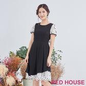 Red House 蕾赫斯-素面花朵蕾絲洋裝(黑色)