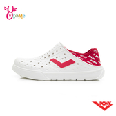 PONY水鞋 女鞋 洞洞鞋 可踩後跟 懶人鞋 水陸鞋 快乾 透氣 軟底 LOGO款 L9490#白紅◆OSOME奧森鞋業