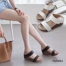 雙版厚底楔型拖鞋【KB366-1】黑 / 白