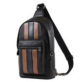 美國正品 COACH 男款 直紋荔枝紋皮革單肩背胸包-黑/棕【現貨】