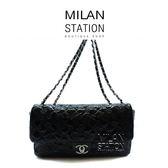 【台中米蘭站】CHANEL黑色漆皮幸運符號壓紋COCO兩用包