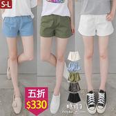 【五折價$330】糖罐子純色素面縮腰口袋短褲→現貨(S-L)【KK5975】