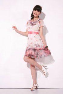 夏裝精品女裝熱賣 爆款可愛優雅蕾絲花邊圓領雪紡連衣裙
