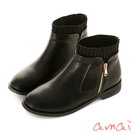 amai 英倫風異材質造型短靴 黑