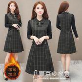 初秋裝新款毛呢洋裝早秋款女裝氣質媽媽洋氣高貴流行裙子 東京衣秀