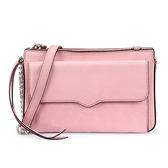 Rebecca Minkoff BREE 麂皮側鉚釘綴飾前口袋斜側背包(粉紅色)220075