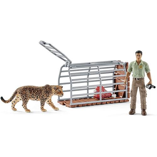 Schleich 史萊奇動物模型 管理員與抓豹陷阱組