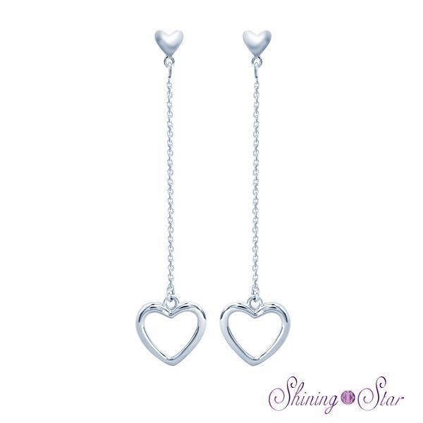 愛心頂級白K金耳環 Shining Star K金 飾品 耳環(垂墜式設計)