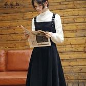 針織毛衣打底背帶裙兩件套連身裙女套裝裙子【小酒窩服飾】