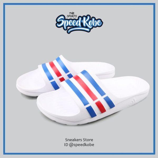 ADIDAS 拖鞋 Duramo Slide 基本款 防水 海灘 白藍紅 情侶鞋 男女 U43664【Speedkobe】