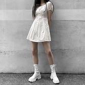 馬丁靴女夏季新款厚底增高繫帶短靴百搭復古粗跟中筒機車靴子