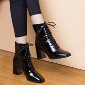 裸靴2020秋季新款高跟小短靴女春秋款單靴方頭粗跟馬丁靴秋冬皮鞋 露露日記