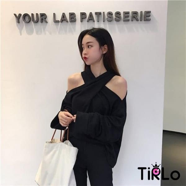 長T-Tirlo-掛脖交叉設計露肩衛衣-一色(現+追加預計5-7工作天出貨)