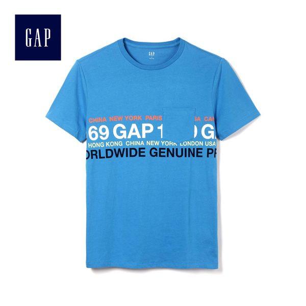 Gap男裝 Logo印花休閒圓領短袖T恤 441467-微風藍