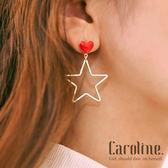 《Caroline》★韓國釉燒紅心大星星吸引目光風格時尚流行耳環69570
