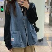 牛仔馬甲 韓版2020年秋冬新款寬鬆外搭上衣女外穿百搭牛仔背心學生馬甲外套 韓國時尚週