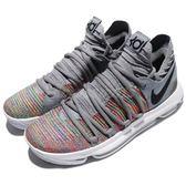 Nike 籃球鞋 Zoom KD 10 EP Multicolor 灰 彩虹 XDR 耐磨鞋底 氣墊設計 運動鞋 男鞋【PUMP306】 897816-900
