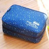 【韓版】420D加密防水小清新可懸掛盥洗化妝包(4色)(深藍星星)