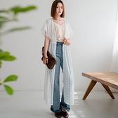 現貨-MIUSTAR 縮腰單釦透膚長版蕾絲罩衫(共1色)【NJ1769】
