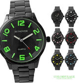 浮雕刻度大數字手錶 低調黑型男簡約腕錶 禮物  柒彩年代【NE1027】單支