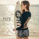 PUFII-泳衣 性感背交叉綁帶短版長袖上衣+泳褲+鬆緊短褲三件式泳衣組0413現+預春【CP12491】
