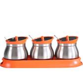 【PUSH!餐具廚房用品】不鏽鋼調味罐胡椒罐(3罐組橙色)D86-2