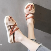 厚底拖鞋女外穿2019夏季新款韓版仙女風百搭網紅中跟鬆糕底涼拖鞋 米娜小鋪