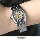 范倫鐵諾Valentino自動上鍊機械腕錶 經典酒桶不鏽鋼手錶 背板鏤空設計 柒彩年代 【NE1398】原廠