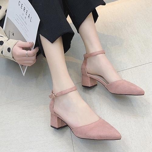 高跟鞋.簡約純色絨面尖頭繞踝粗跟包鞋.白鳥麗子