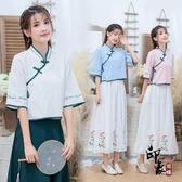 民族風女裝 復古改良式日常漢服 傳統繡花盤扣襯衫上衣‧復古‧衣閣