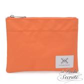 La Poche Secrete 率性韓風自在休閒帆布漾彩收納萬用化妝包-粉橘色