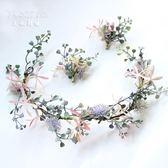 韓式新娘飾品仿真花朵發飾頭花仙美影樓發飾婚紗森系花環結婚飾品梗豆物語
