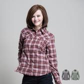 Polarstar 格子襯衫│保暖│天鵝絨女襯衫 P13208『咖啡』