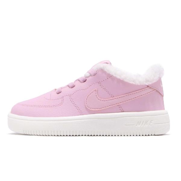【六折特賣】Nike 休閒鞋 Force 1 18 SE TD 粉紅 白 Air Force 保暖毛料內裡 童鞋 小童鞋【PUMP306】 AR1134-600