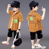 男童短袖襯衫個性時尚潮2021新款兒童夏裝格子襯衣中大童洋氣童裝