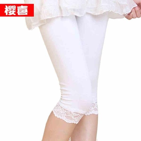 內搭褲 薄款蕾絲花邊彈力修身棉七分打底褲子大碼7分